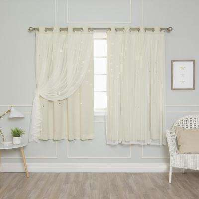 52 in. W x 63 in. L Tulle Overlay Star Cut Out Blackout Curtain Panel in Ivory (2-Pack)