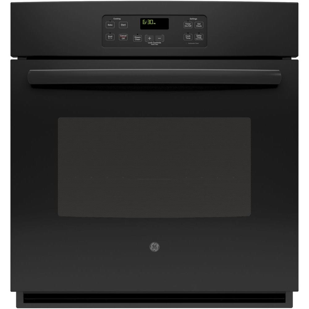 GE 27 in. Single Electric Wall Oven Standard Clean with Steam in Black