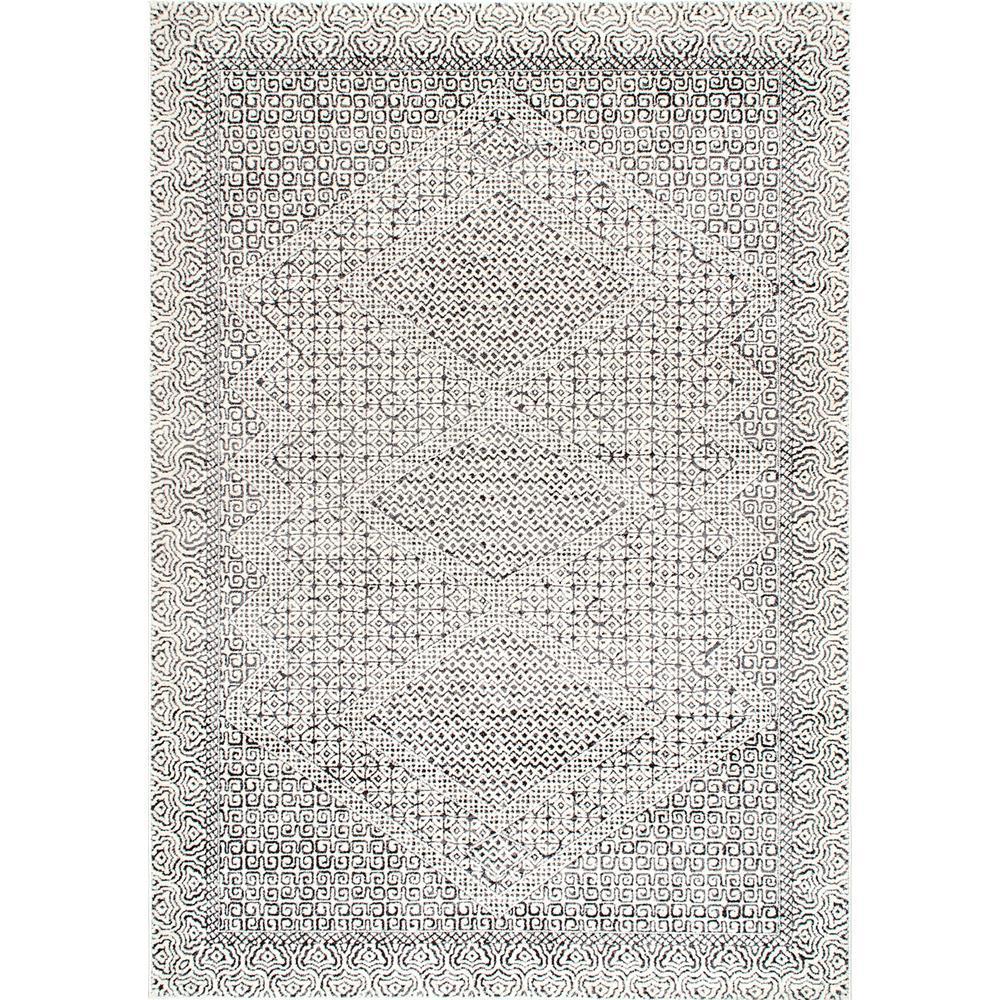 Mozaik Tribal Light Gray 3 ft. x 8 ft. Runner