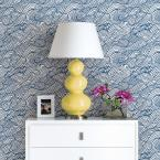 A-Street 56.4 sq. ft. Mare Navy Wave Wallpaper