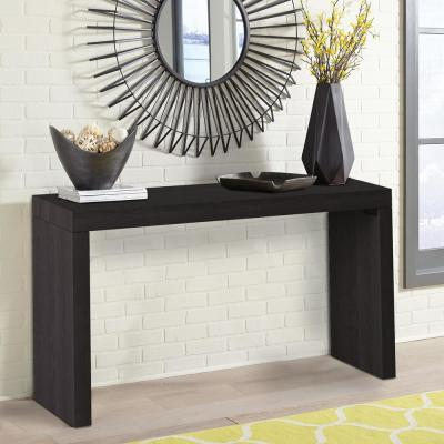 Black Wood Grain Veneer Console Table