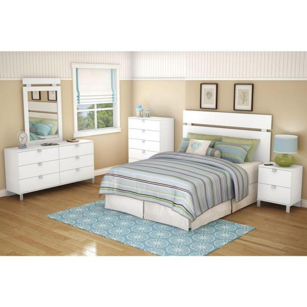 South Shore Spark 2-Drawer Nightstand in Pure White 3260060