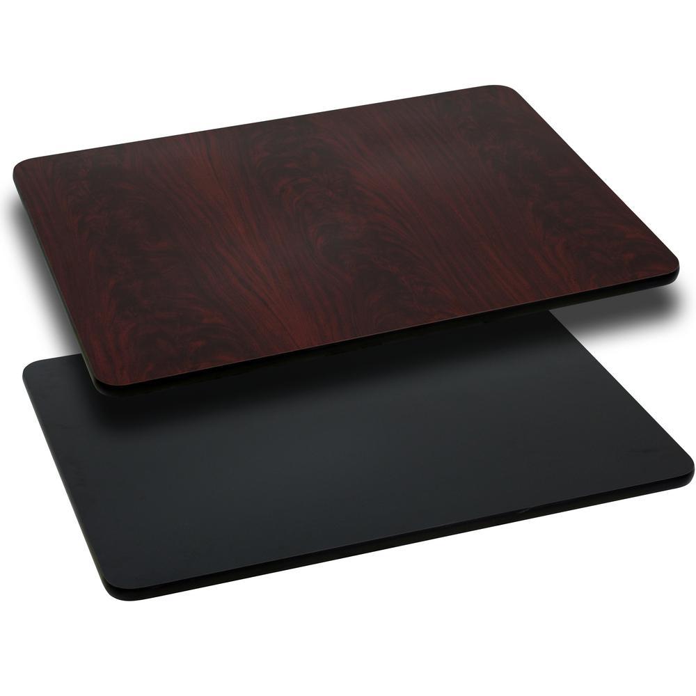 Bon Rectangular Table Top With Black And Mahogany