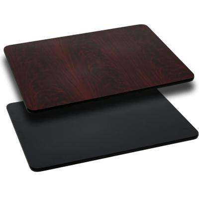 30 in. x 60 in. Rectangular Table Top with Black and Mahogany Reversible Laminate Top