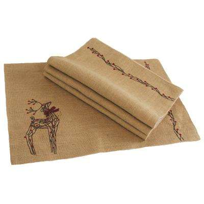 0.2 in. H x 20 in. W x 13 in. D Rustic Reindeer Jute Christmas Placemats (Set of 4)
