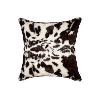 Brown and White 18 in. x 18 in. Faux Cowhide Decorative Pillow