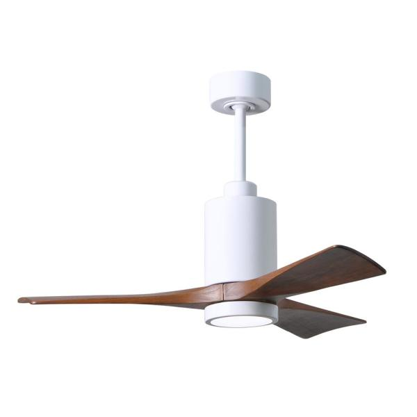 Patricia 42 in. Integrated LED Gloss White Ceiling Fan with Light Kit, Remote Control and Wall Control