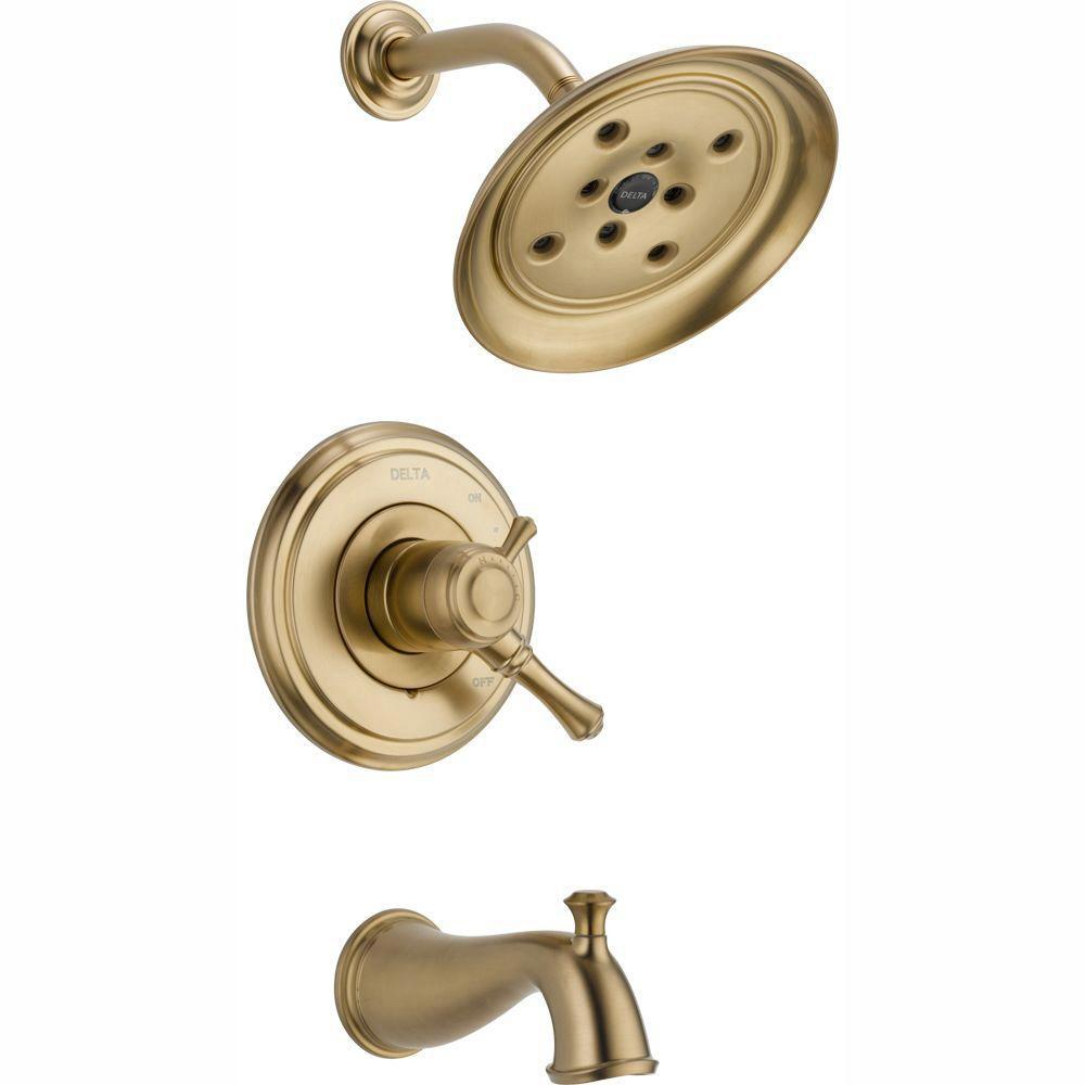 Delta Cassidy 1-Handle H2Okinetic Tub and Shower Faucet Trim Kit Only in Champagne Bronze (Valve Not Included)