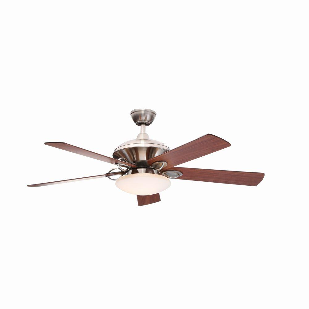 Hampton Bay Sauterne II 52 in. Indoor Brushed Nickel Ceiling Fan with Light Kit and Remote Control