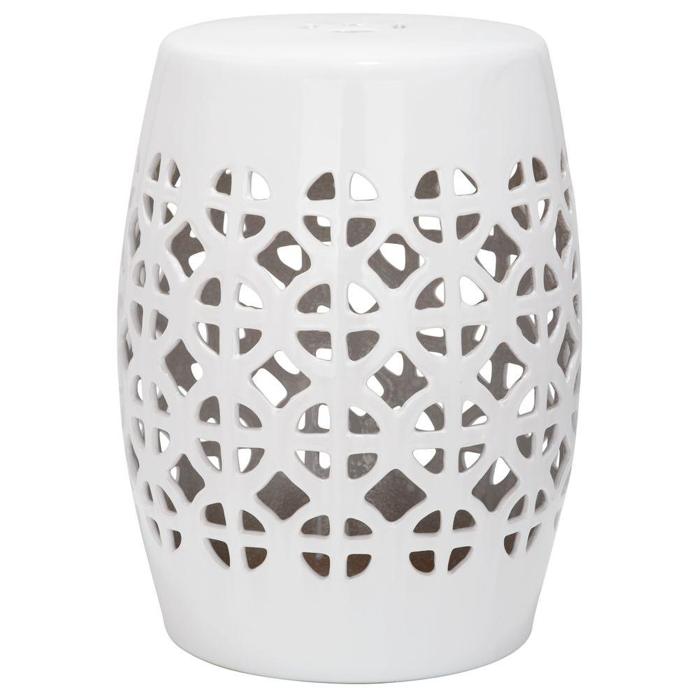 Astonishing Safavieh Circle Lattice White Ceramic Patio Stool Gmtry Best Dining Table And Chair Ideas Images Gmtryco