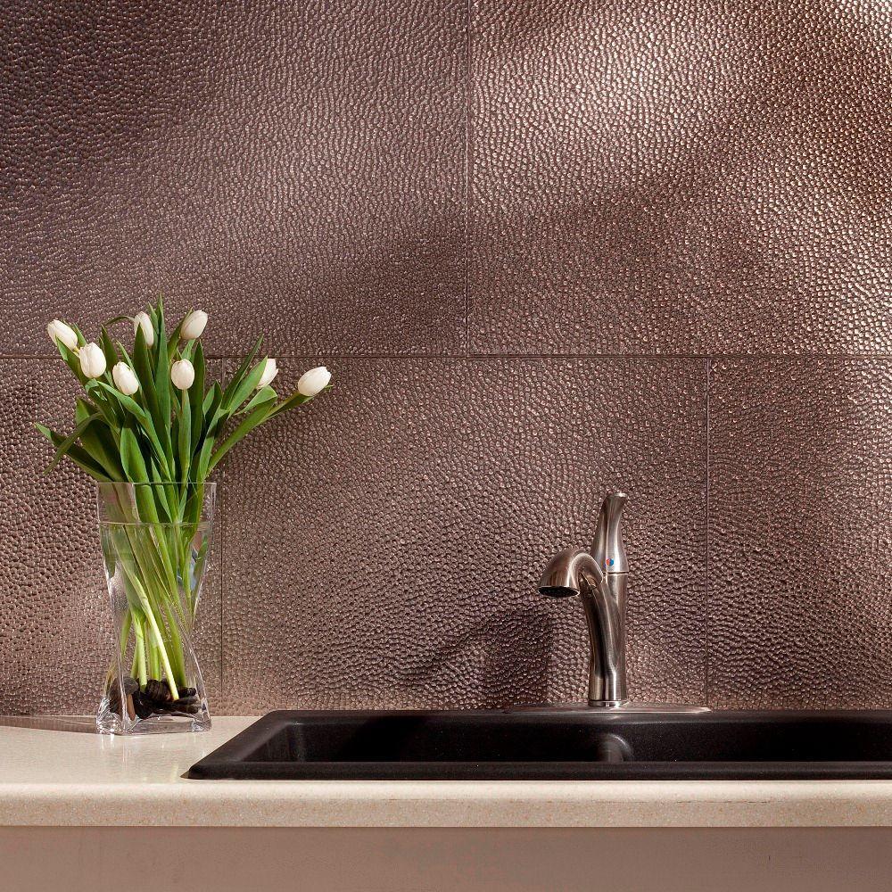 Fasade 24 in. x 18 in. Hammered PVC Decorative Backsplash Panel