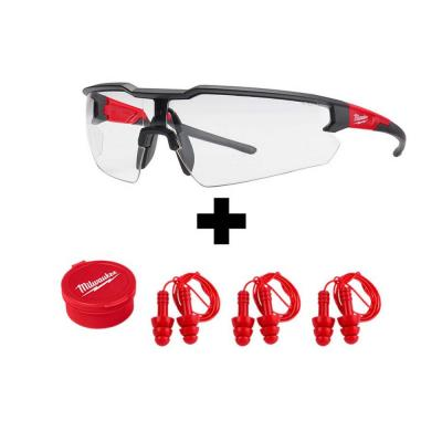 Safety Glasses with Clear Lenses with Corded Red Earplugs (3-Pack)