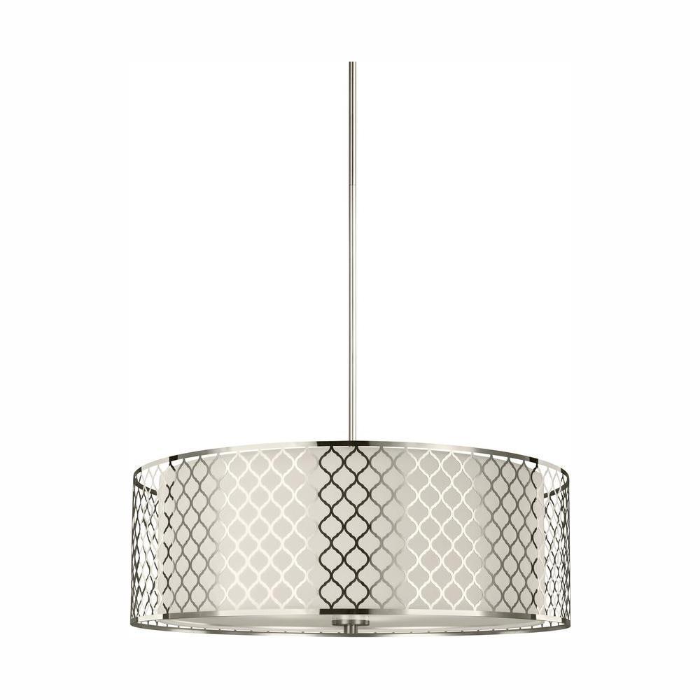 Jourdanton 4-Light Brushed Nickel Pendant with LED Bulbs