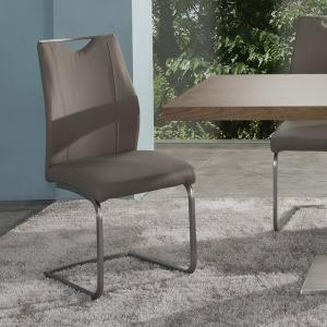coffee faux leather and brushed stainless steel finish dining chair
