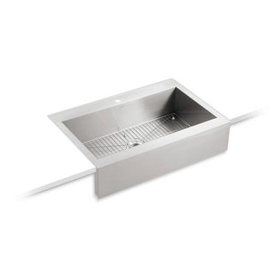 Vault Farmhouse Apron-Front Stainless Steel 36 in. 1-Hole Single Bowl Kitchen Sink