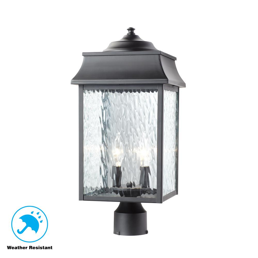 Home decorators collection scroll 2 light outdoor black post light
