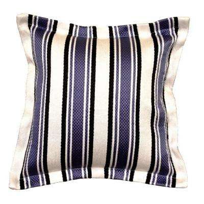 Denim Stripe Square Outdoor Throw Pillow