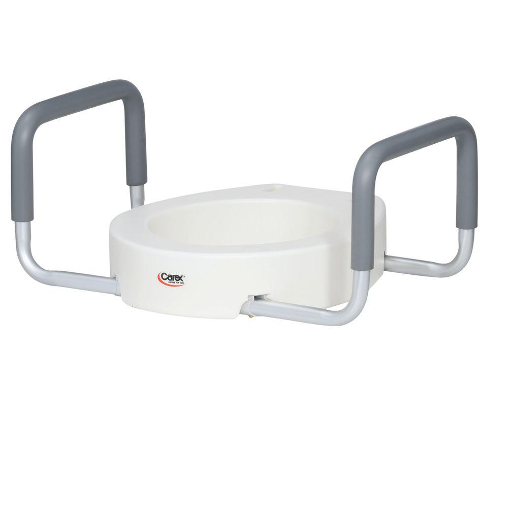 Carex Health Brands Elevated Toilet Seat with Handles in White for ...