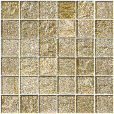 12 in. x 12 in. x 8 mm Tile'ESQUE Gold and Silver Metallic Glass Mesh-Mounted Mosaic Tile