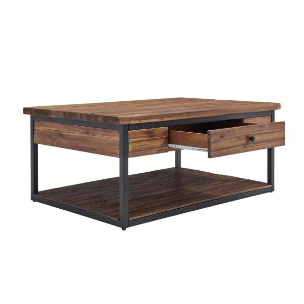 Alaterre Furniture Claremont 48 In Dark Brown Large Rectangle Wood Coffee Table With Drawer Ancm1274 The Home Depot