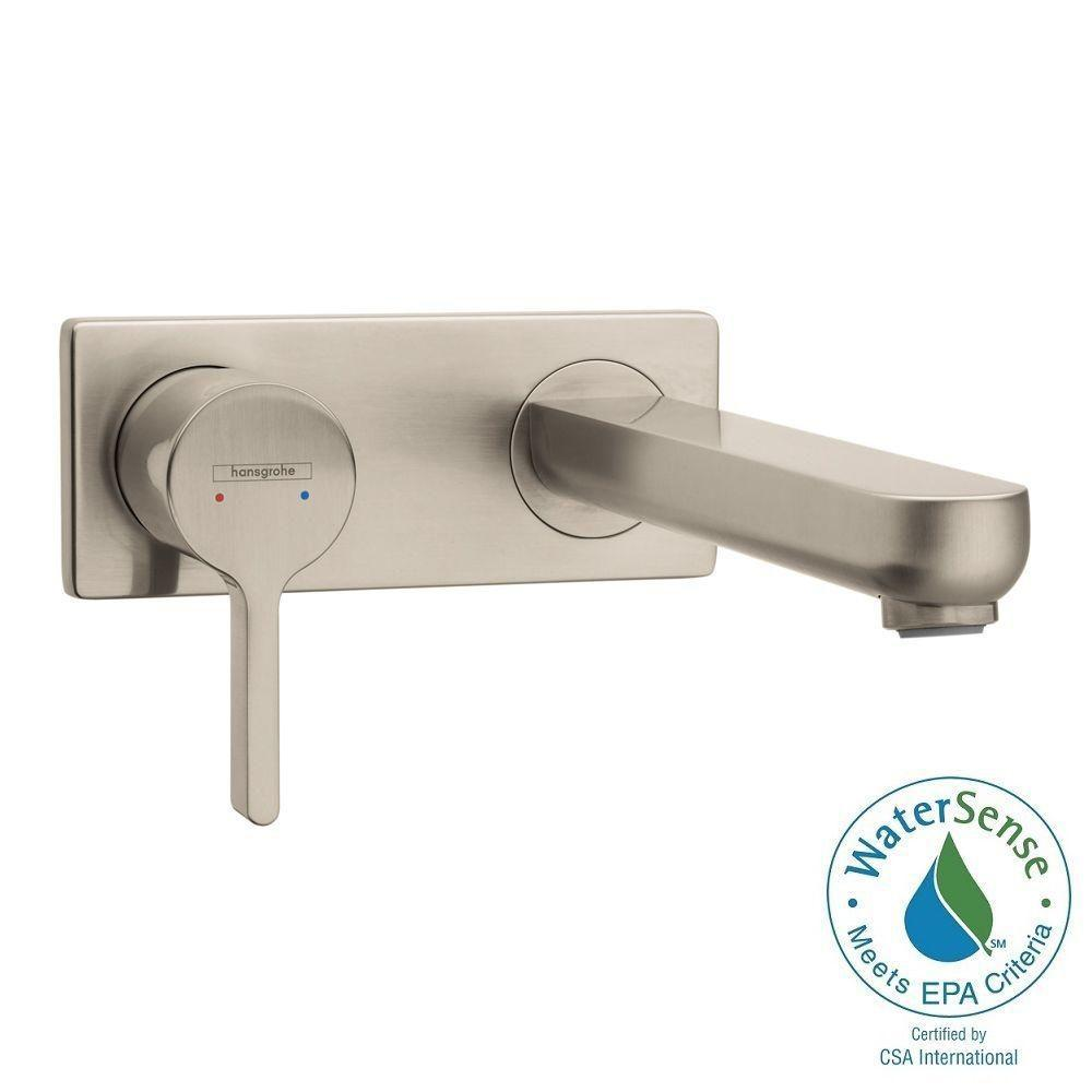 Metris S Single-Handle Wall Mount Bathroom Faucet in Brushed Nickel