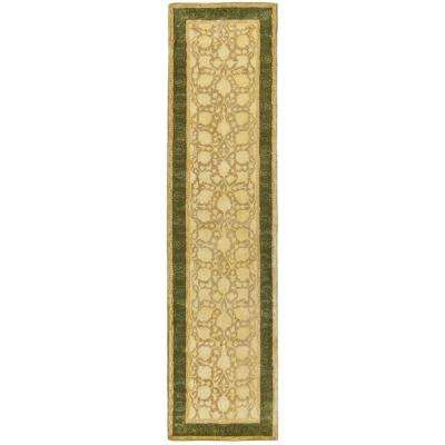 Silk Road Ivory/Sage 3 ft. x 10 ft. Runner Rug