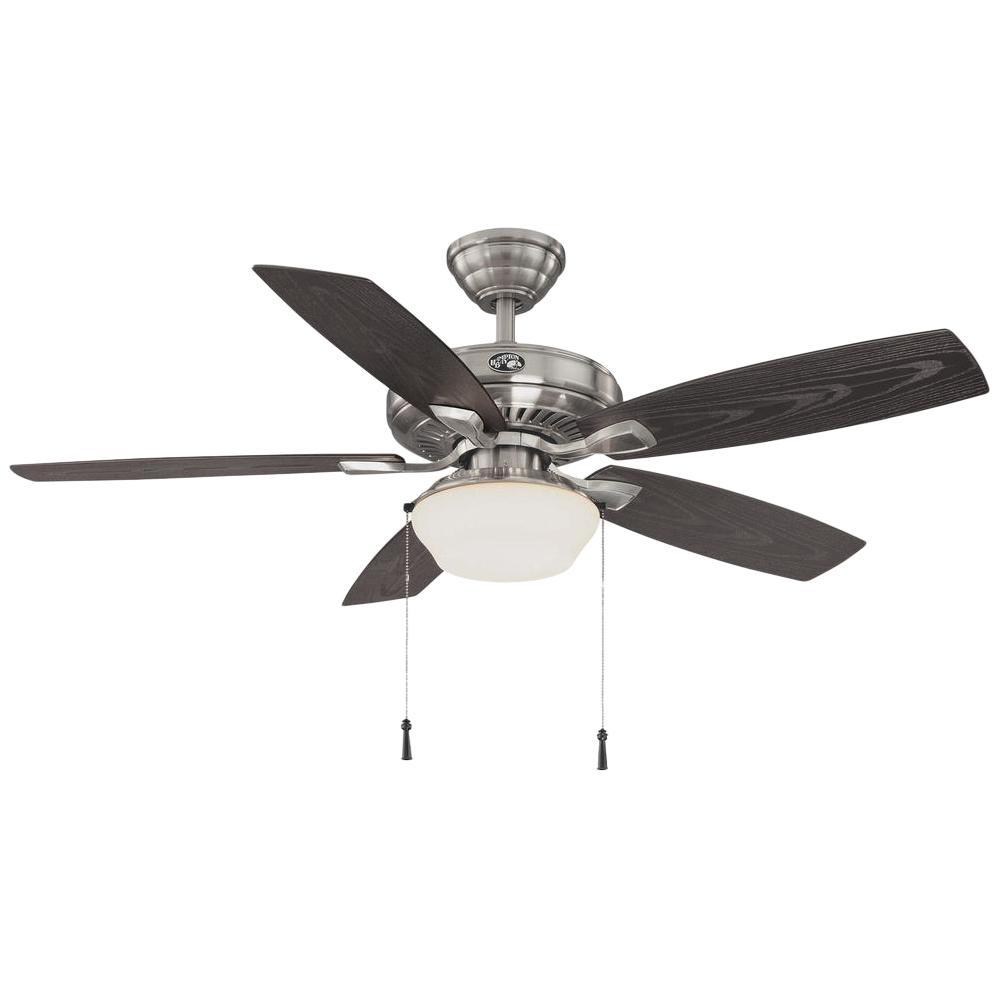 Hampton Bay Gazebo 52 in. LED Indoor/Outdoor Brushed Nickel Ceiling Fan
