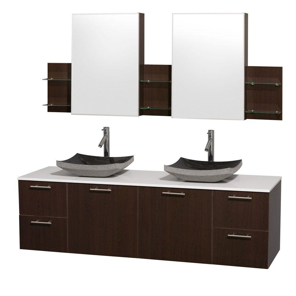 Amare 72 In. Double Vanity In Espresso With Man Made Stone Vanity