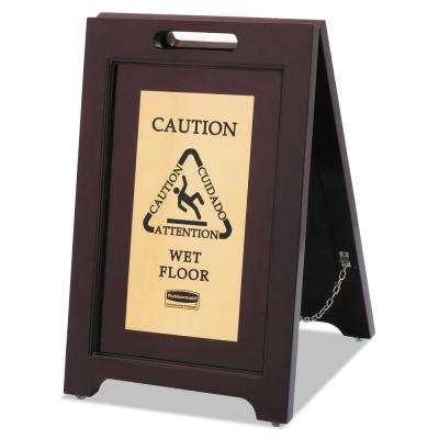 Executive Series Wooden Floor Safety Sign with Brass Panel