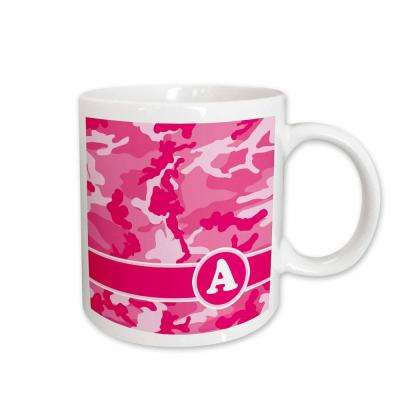Janna Salak Designs Monogram Collection Cute Pink Camo Camouflage Letter A 11 oz. White Ceramic Coffee Mug