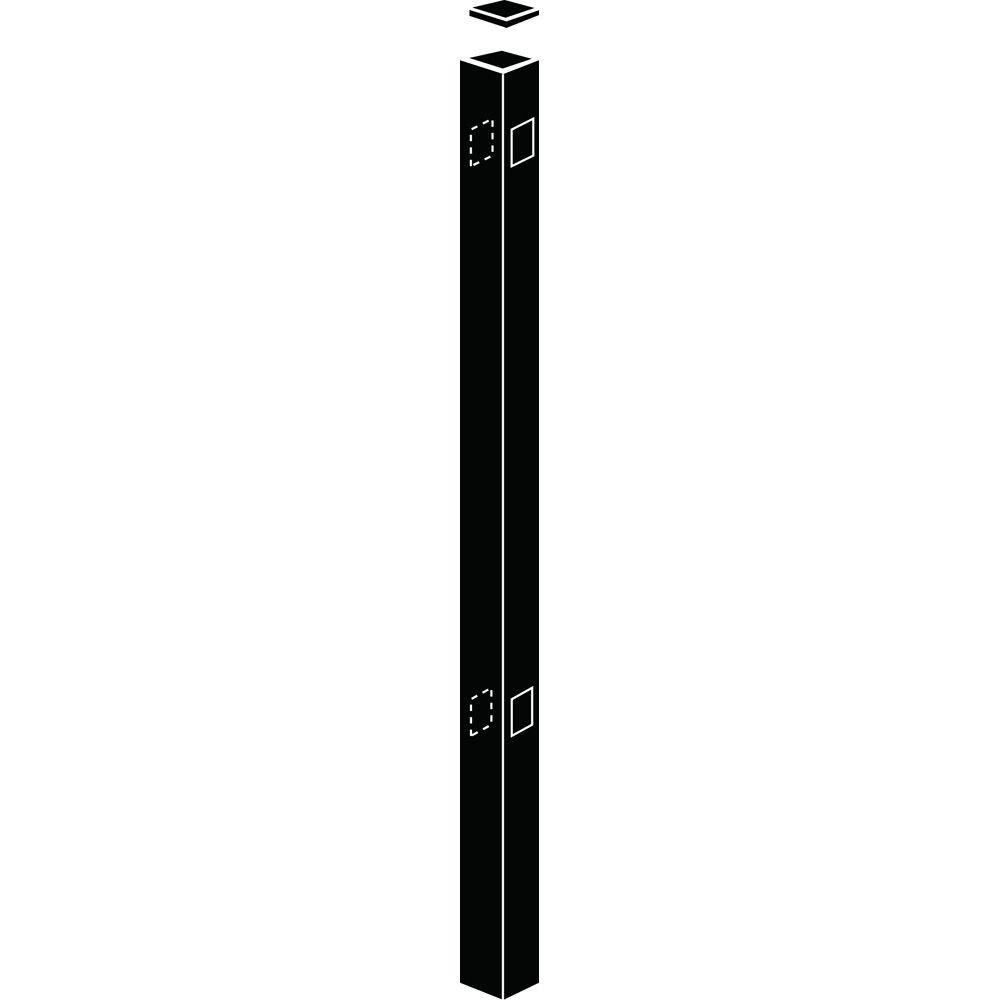 2 in. x 2 in. x 4-5/6 ft. Metropolitan Black Aluminum