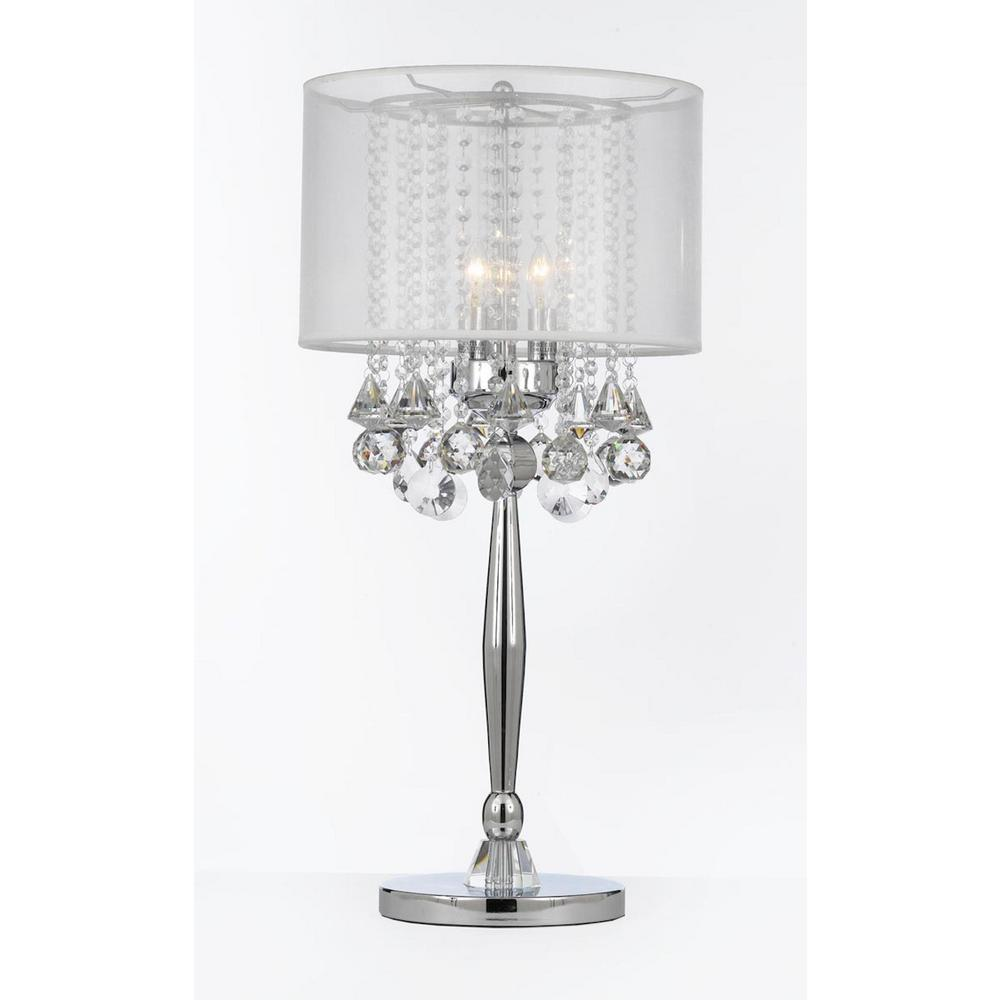 Crystal Chandelier Table Lamps: Modern 29 In. Silver Mist Table Lamp With Hanging Crystals
