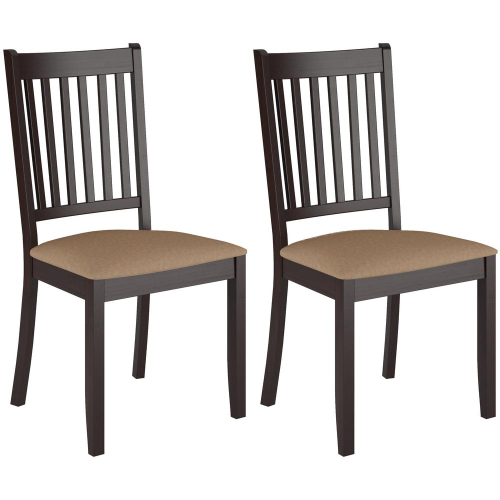Atwood Cappuccino Stained Wood Dining Chairs With Microfiber Seat (Set Of 2)