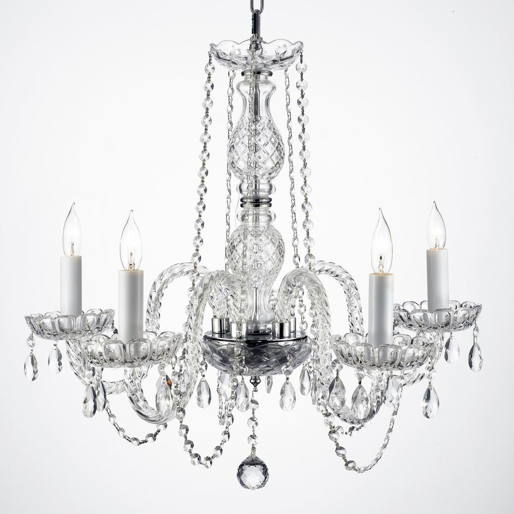 Empress 5 Light Clear Crystal Plug In Chandelier