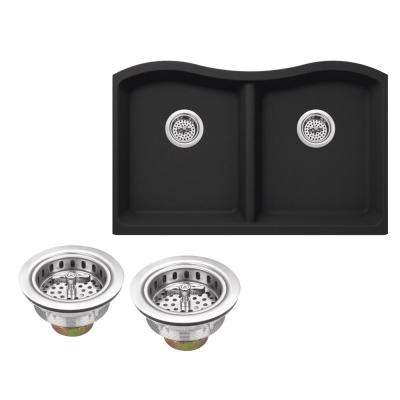 Undermount Granite Composite 33 in. Kitchen Sink in Onyx Black