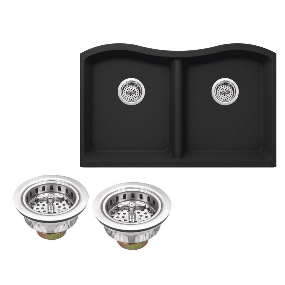 Undermount Granite Composite 33 in. Kitchen Sink in Black Onyx