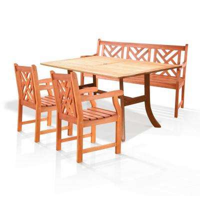 Atlantic Eucalyptus 4-Piece Wood Patio Dining Set with Herringbone-Back Armchairs