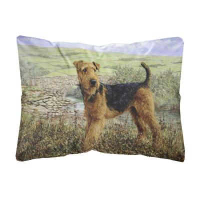 12 in. x 16 in. Multi-Color Lumbar Outdoor Throw Pillow Airedale Terrier The Kings Country Fabric Decorative Pillow