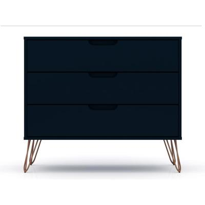 3-Drawer Tatiana Midnight Blue Mid-Century Modern Dresser