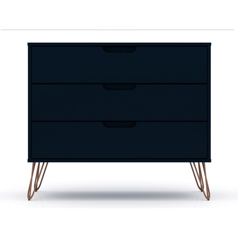 Luxor 3-Drawer Tatiana Midnight Blue Mid-Century Modern Dresser 103HD5