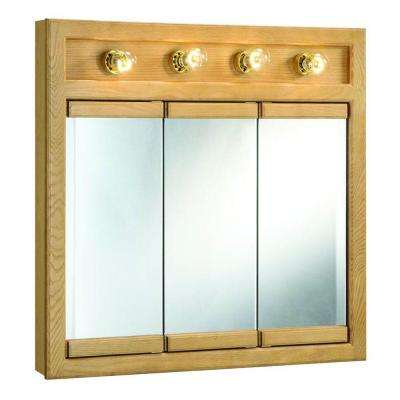 Richland 30 in. W x 30 in. H x 5 in. D Framed 4-Light Tri-View Surface-Mount Bathroom Medicine Cabinet in Nutmeg Oak