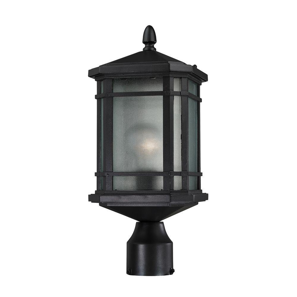 Lowell 1-Light Matte Black Outdoor Post Lantern