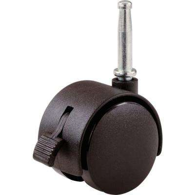 2 in. Plastic Twin Wheel Swivel Stem Casters with 75 lb. Load Rating and Brake (2 per Pack)