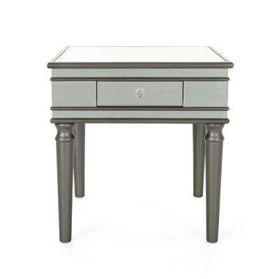 Marinette Modern Mirrored Accent Table with Black Fir Wood Frame