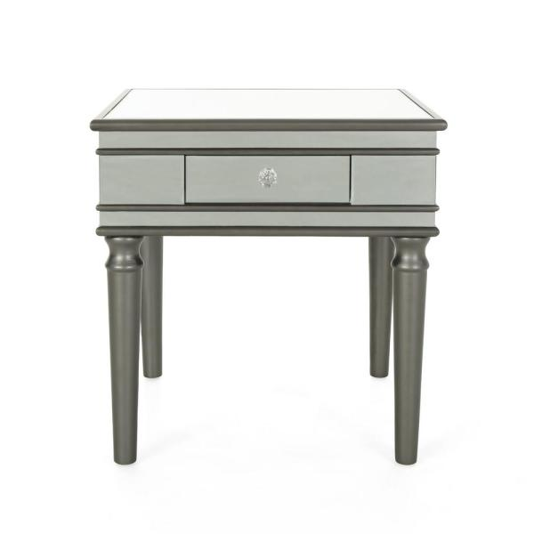 Noble House Marinette Modern Mirrored Accent Table with Black Fir Wood
