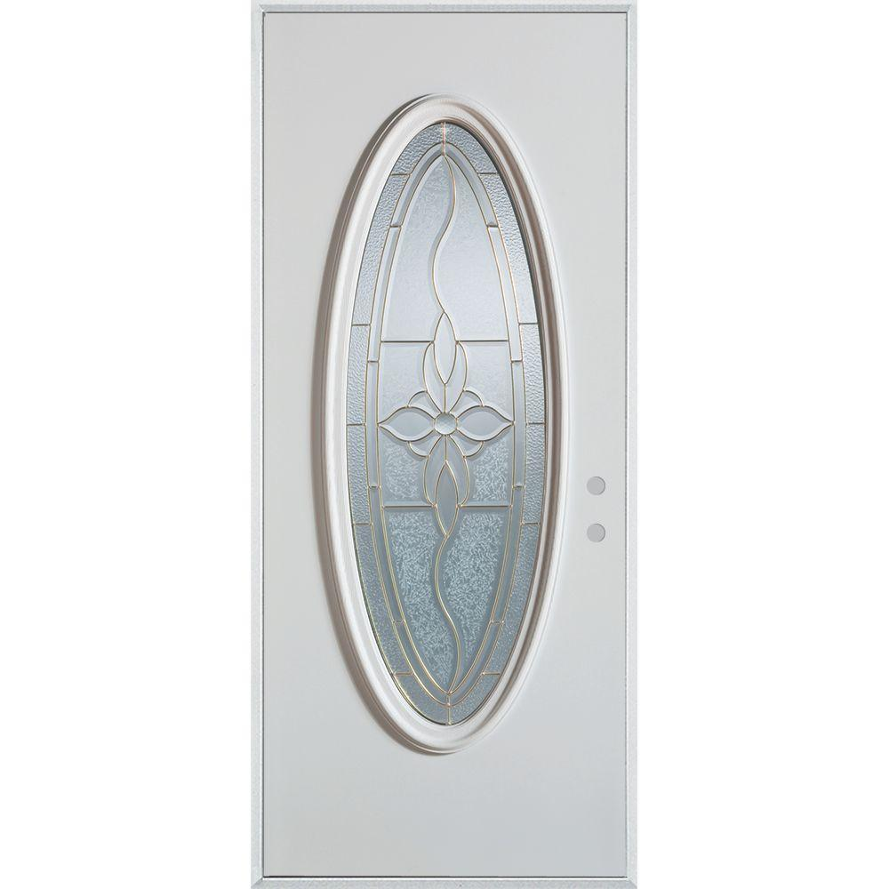 36 in. x 80 in. Traditional Patina Oval Lite Prefinished White