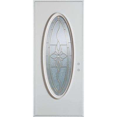 36 in. x 80 in. Traditional Patina Oval Lite Prefinished White Left-Hand Inswing Steel Prehung Front Door