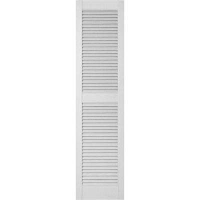 14-1/2 in. x 80 in. Lifetime Vinyl Custom Straight Top Center Mullion Open Louvered Shutters Pair White