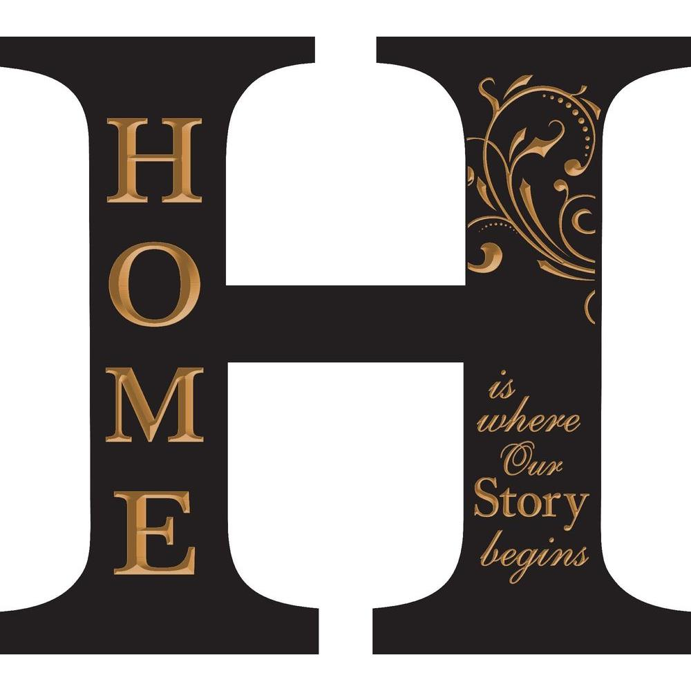 P. Graham Dunn 14.75 in. x 13.25 in. Black Architectural Letter H Home Wood Carved Wall Hanging