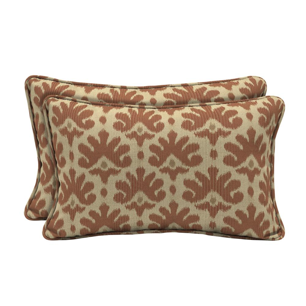 Home Decorators Collection Sunbrella Impala Terra Cotta Lumbar Outdoor Throw Pillow (2-Pack)